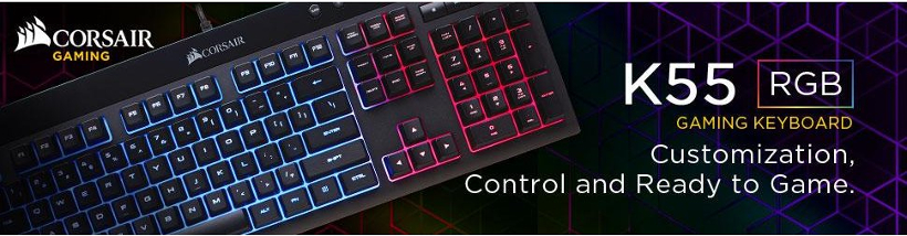 Corsair® K55 RGB Backlit LED Gaming Keyboard