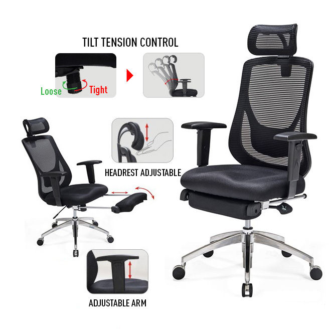 pretty nice 3713e 2dd78 Adjustable Mesh Office Chair with Footrest - Black - Moustache®