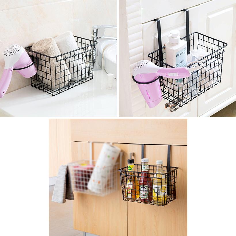Pleasant Storage Basket Over Cabinet Door Kitchen Organizer Basket With Hair Dryer Holder Sortwise Interior Design Ideas Ghosoteloinfo