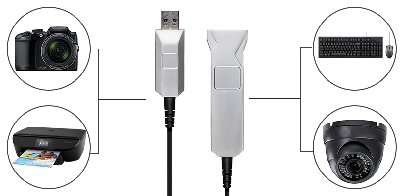 10m Active Optical USB Connection SlimRun USB 3.0 Type-A Extension Cable