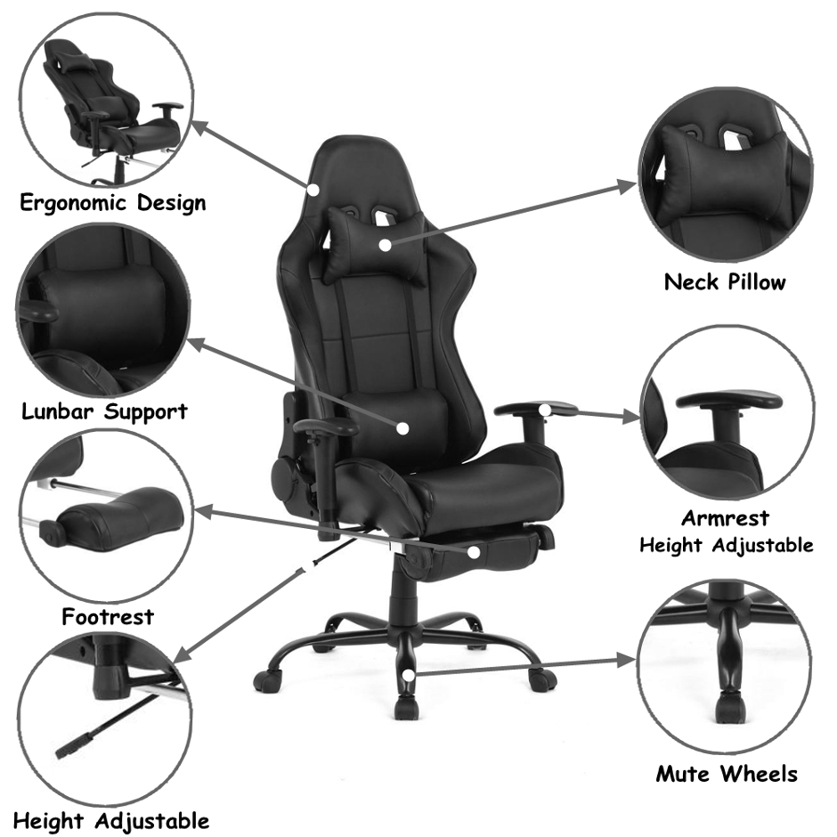 Ergonomic Racing Gaming Chair With Footrest