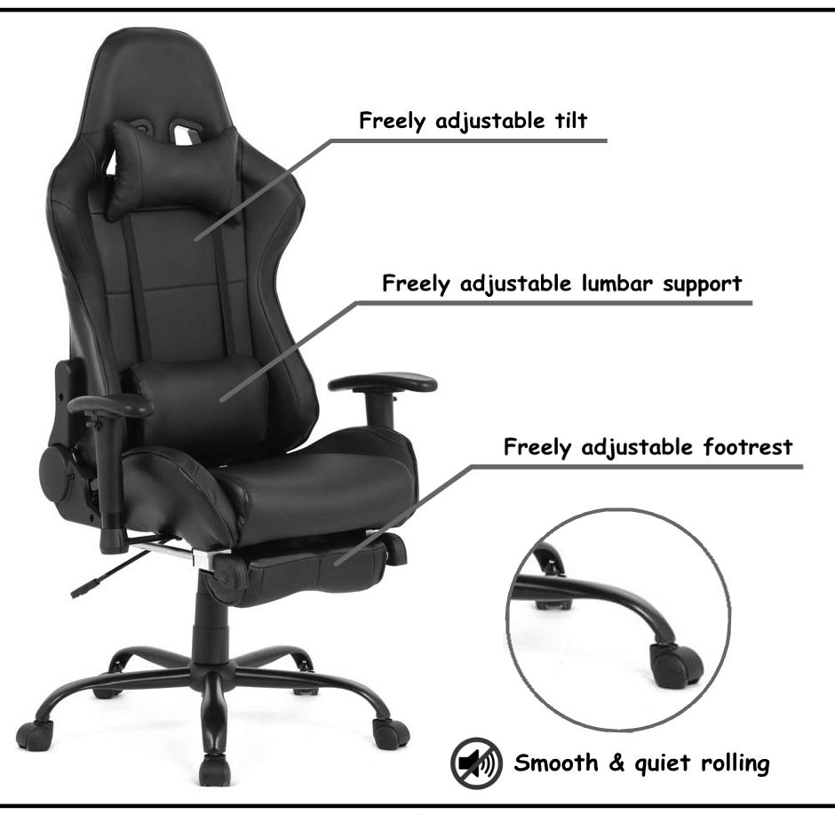 Marvelous Ergonomic Racing Gaming Chair With Footrest Black Moustache Lamtechconsult Wood Chair Design Ideas Lamtechconsultcom