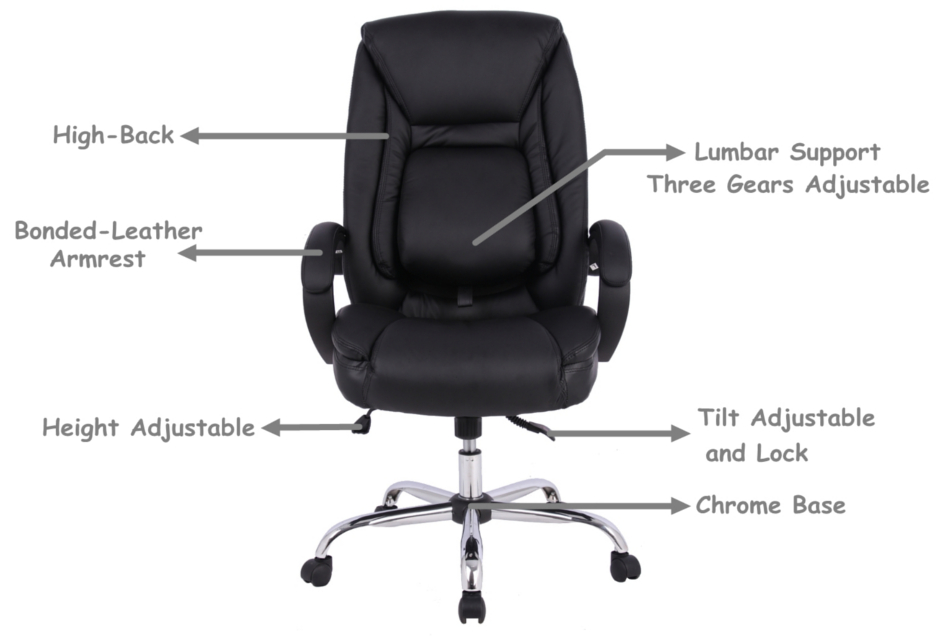 Ergonomic Faux-Leather High Back Office Chair with Adjustable Lumbar Support