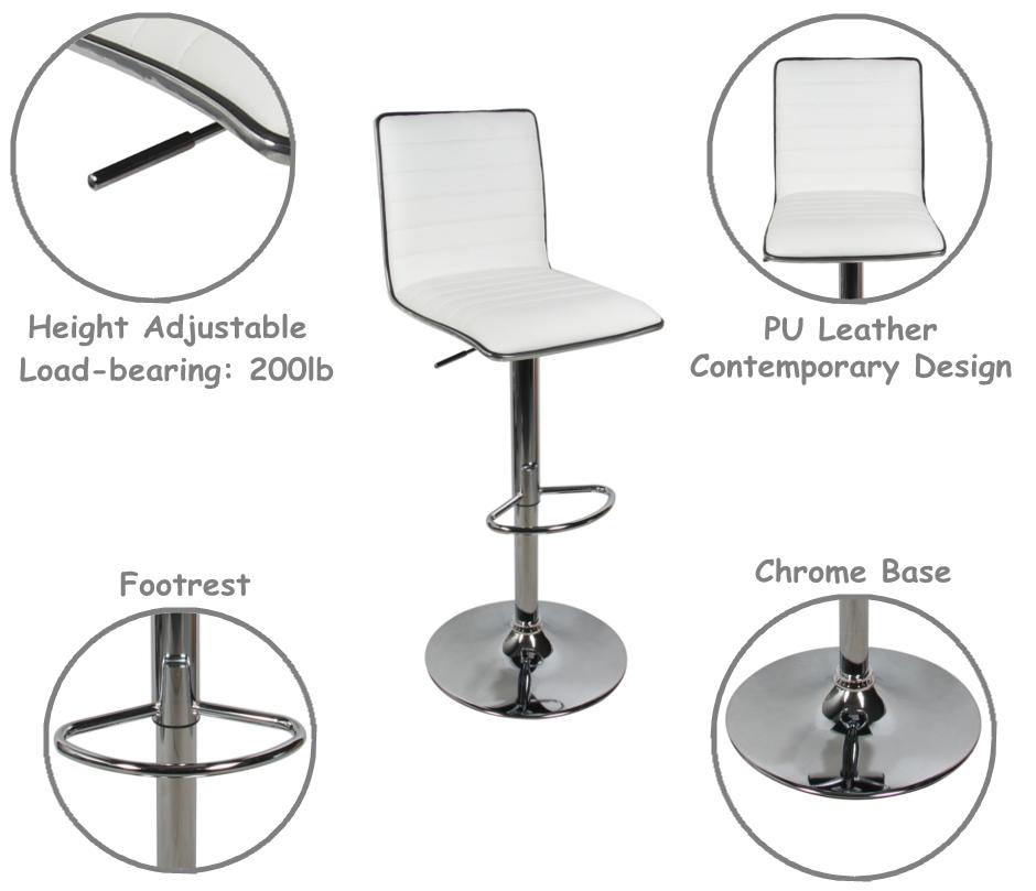 Stupendous High Back Adjustable Height Swivel Bar Stool Moustache 1 Pack White Evergreenethics Interior Chair Design Evergreenethicsorg