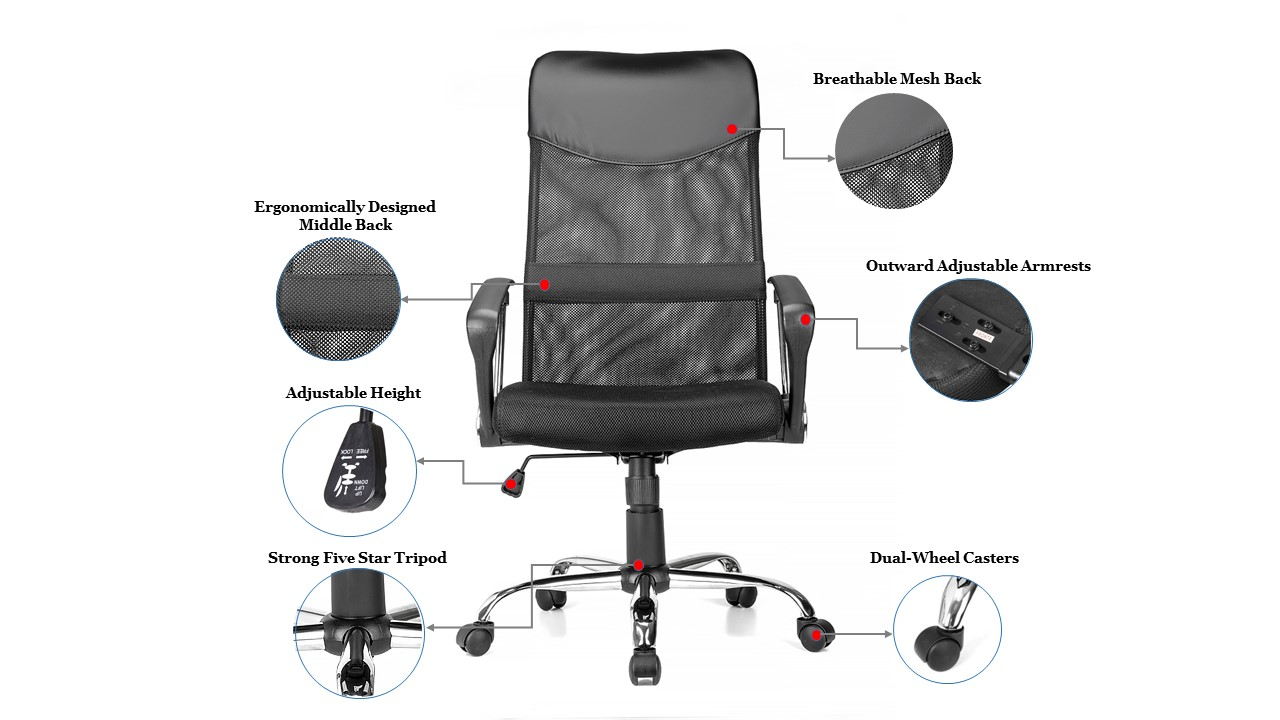 Terrific Adjustable Mesh Office Chair With Fixed Arms High Back Black Moustache 1 Pack Home Interior And Landscaping Transignezvosmurscom