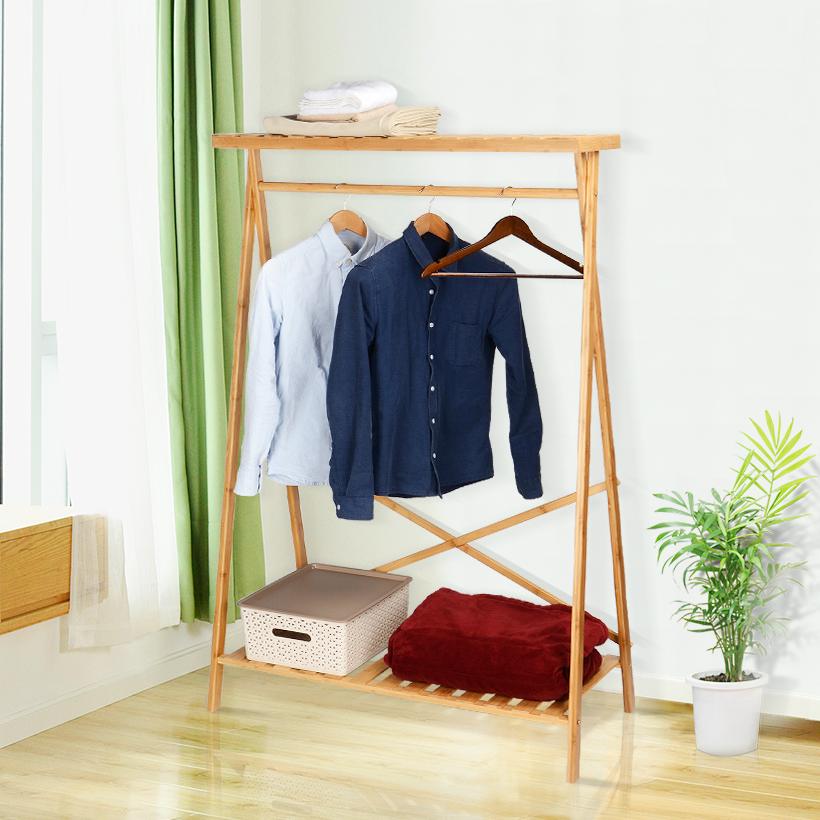 Bamboo Clothing Storage Rack Heavy Duty Portable Coat Shoe