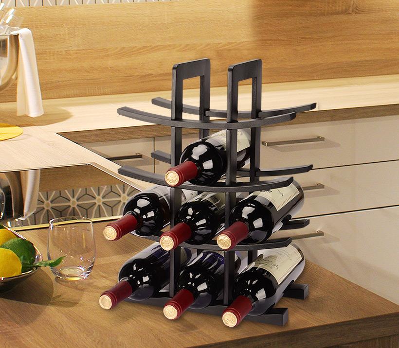 12 Bottles Wine Rack Storage Organizer Dark Espresso Bamboo Countertop Real Canadian Superstore