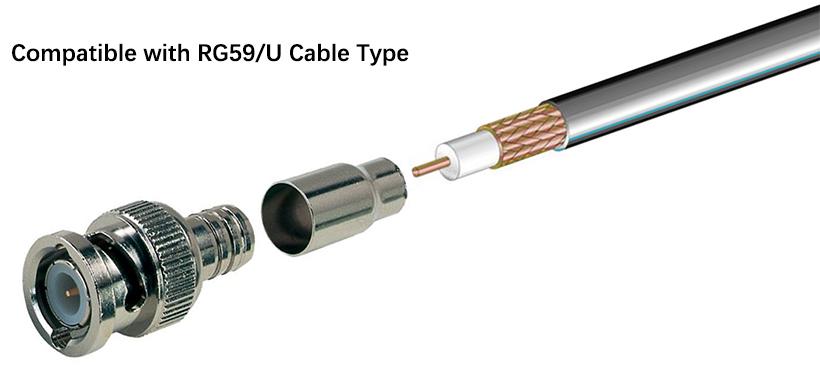 RG59 U Crimping BNC Male Connector 5