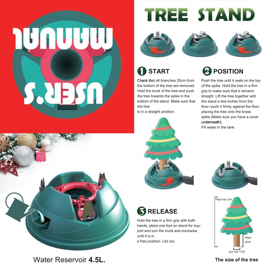 Real Christmas Tree Stand With Water Tank Tree Size: Up To 9 Ft (280 cm)  Tall - LIVINGBasics™