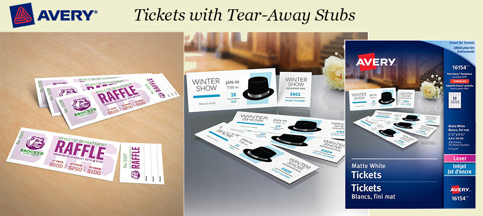 image relating to Printable Tickets With Tear Away Stubs identified as Avery® Tickets with Tear-Absent Stubs (16154), Matte White, 1-3/4\