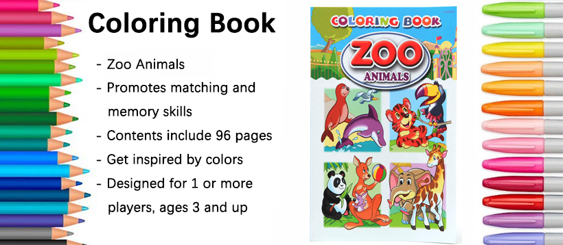 Zoo Animals Coloring Book, 96 Pages, 8\