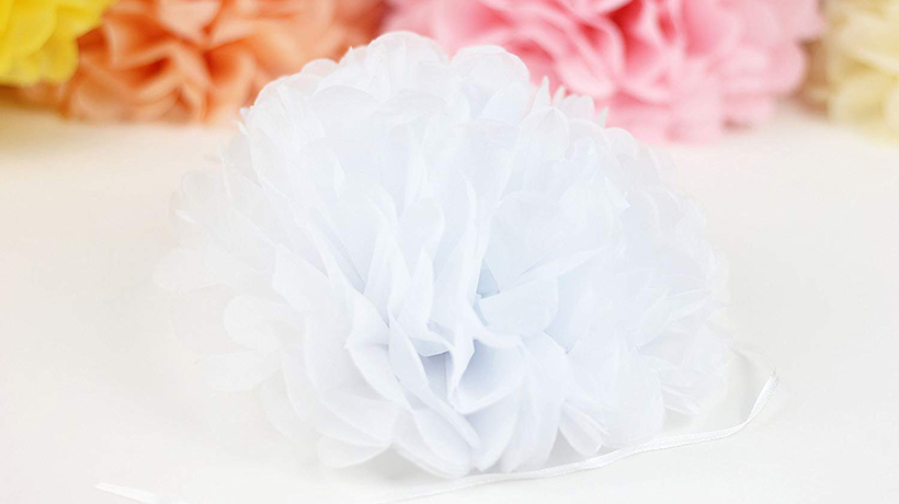 Decorative Tissue Paper Pom Pom Flower Ball White 10 3pcs