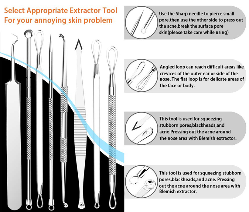 Stainless Steel Facial Blackhead Acne Pimple Needles Tweezers Removal  Popper Tool Set, 8Pcs