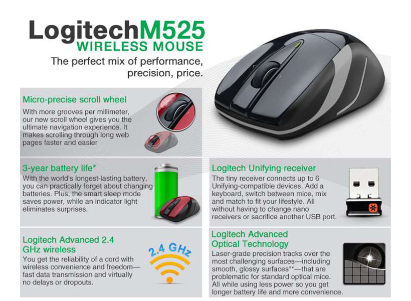 cb01bafe157 Logitech M525 Full-Size Wireless Laser Mouse