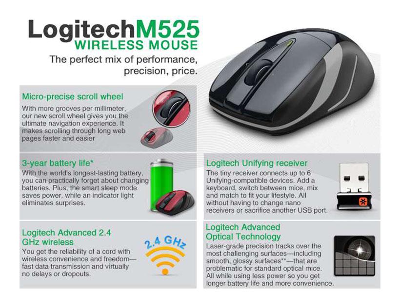 Logitech M525 Full-Size Wireless Laser Mouse - Blue