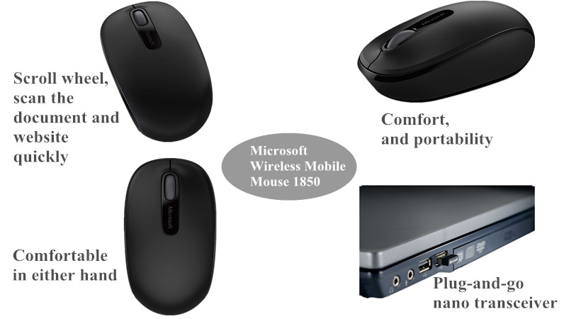 Microsoft® Wireless Mobile Mouse 1850 - Black