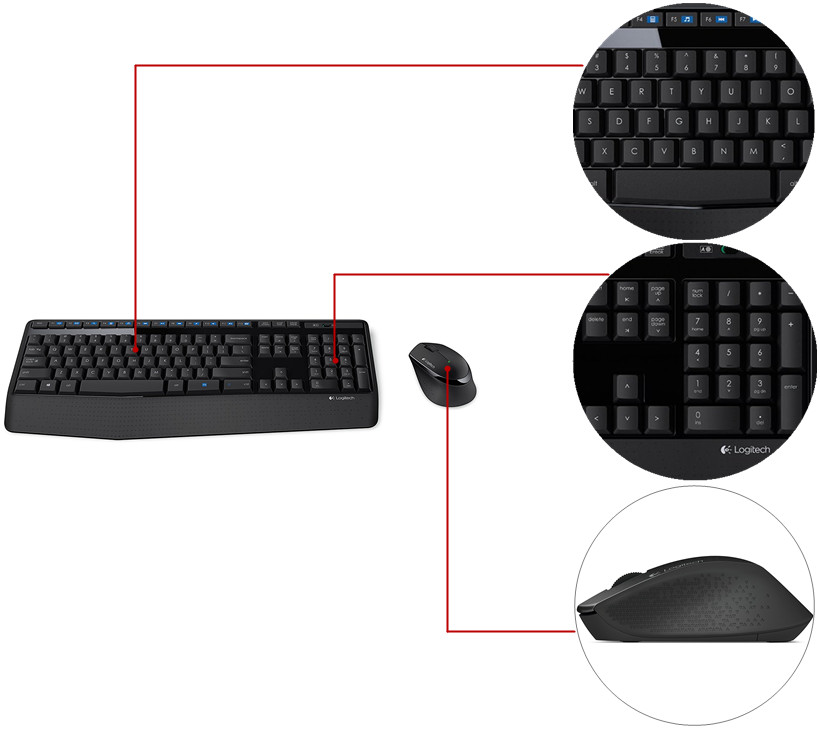 a67a8d13498 Logitech MK345 Wireless Keyboard and Optical Mouse Combo (French ...
