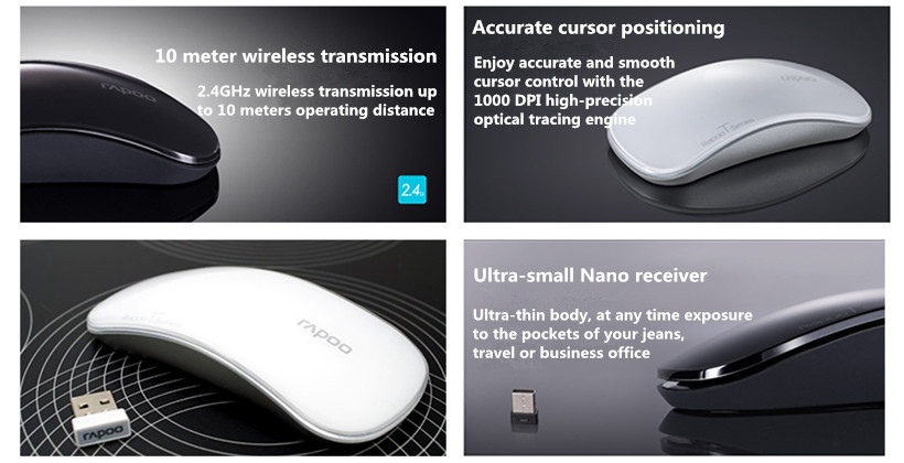 3eb4620825d Enjoy the movement freedom with the Rapoo T6 mouse that offers reliable 2.4GHz  wireless performance and up to 3 months battery life without power ...
