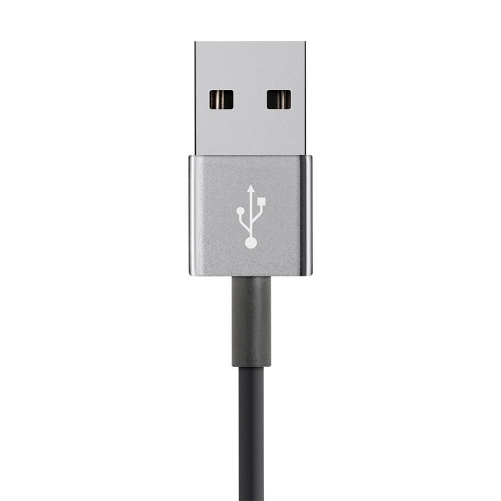MFi Certified Lightning™ to USB Charge / Sync Cable (Zn-Alloy Metal  Housing) - Black - Monoprice® - 3ft
