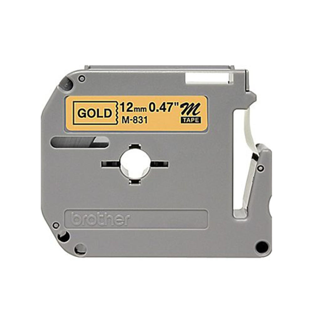 """12mm Ptouch M-831 NEW Brother M831 P-Touch Label Tape 1//2/"""" Black on Gold"""