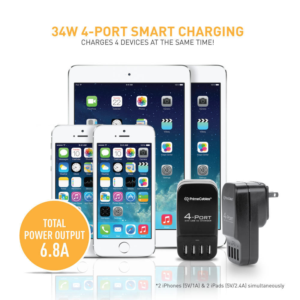 93f266925e8978 4-Port Smart Charging 34W 6.8A USB Wall Charger with International Travel  Plugs PrimeCables®