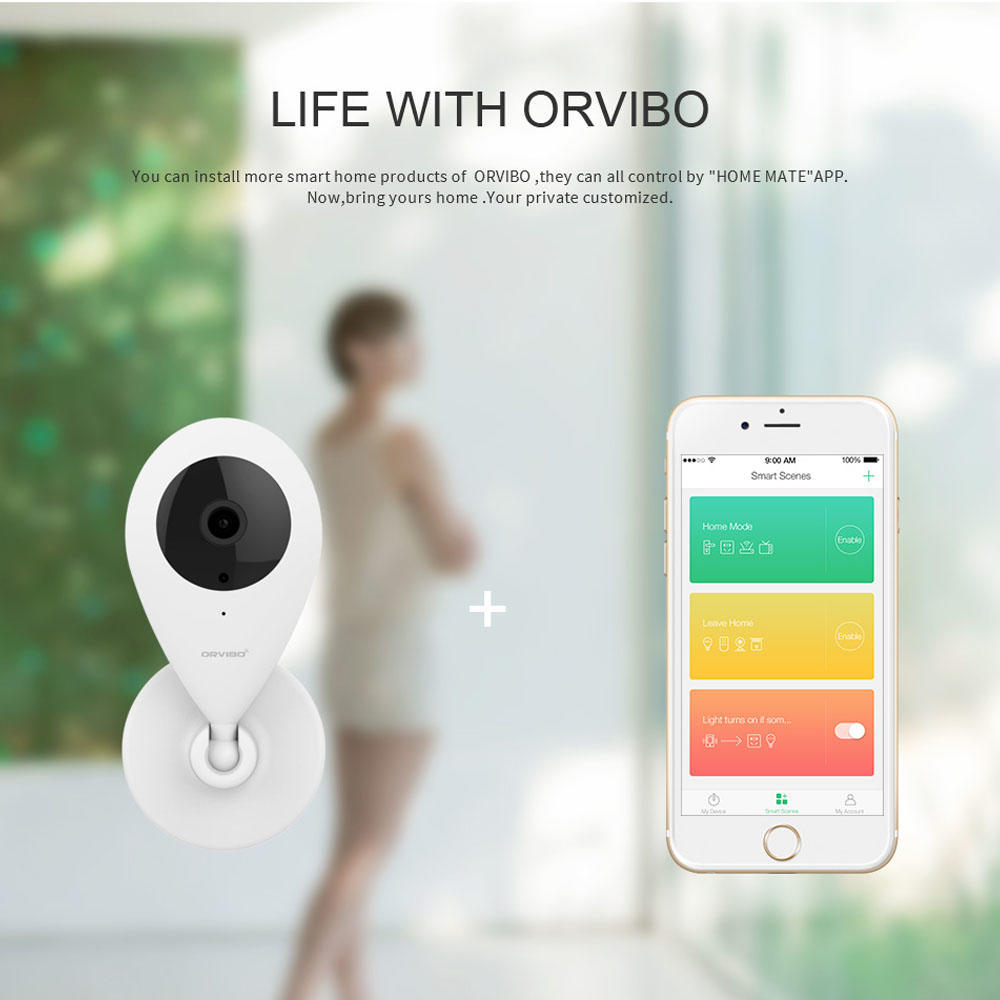 Wireless Smart Indoor security camera system 720p Night Vision w/ speaker  for Baby Monitor - Orvibo® - 1/Pack