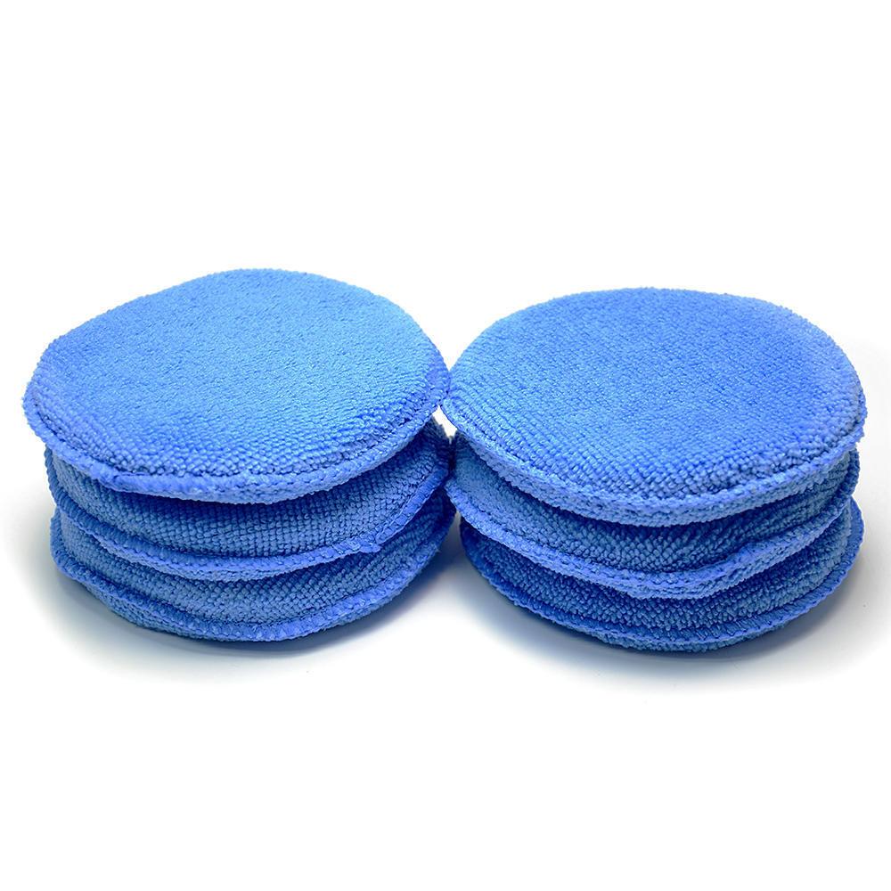 CleanWise /® Blue Microfiber Wax Applicator 5 Diameter, Pack of 6 AutoCare Ultra-soft Microfiber Wax Applicator Pads for Cars Wax Applicator Foam Sponge