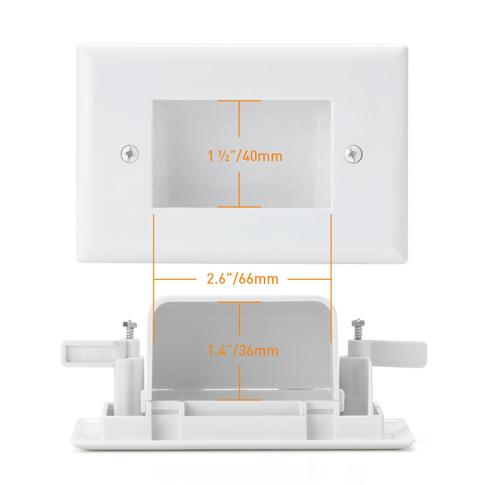 Easy Mount Low Voltage Cable Recessed Wall Plate White Slim Fit