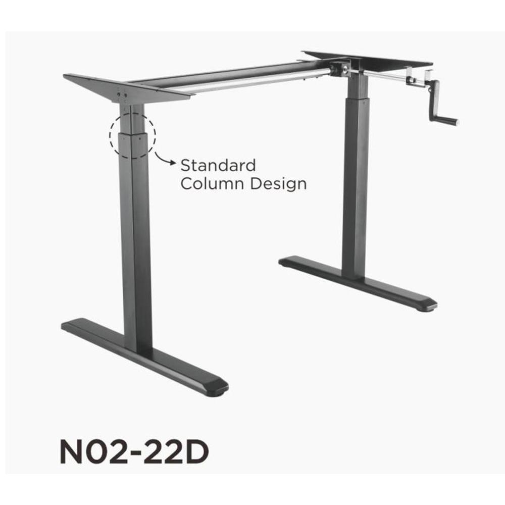 Manual Crank Adjustable Height Sit-Stand Desk Frame, Black + Ergonomic Foot  Rocker PrimeCables®