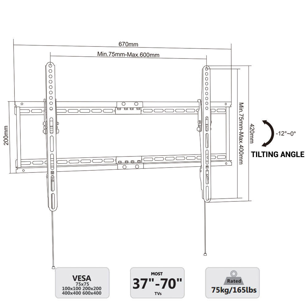 TV Wall Mount Tilting Bracket for Most 37