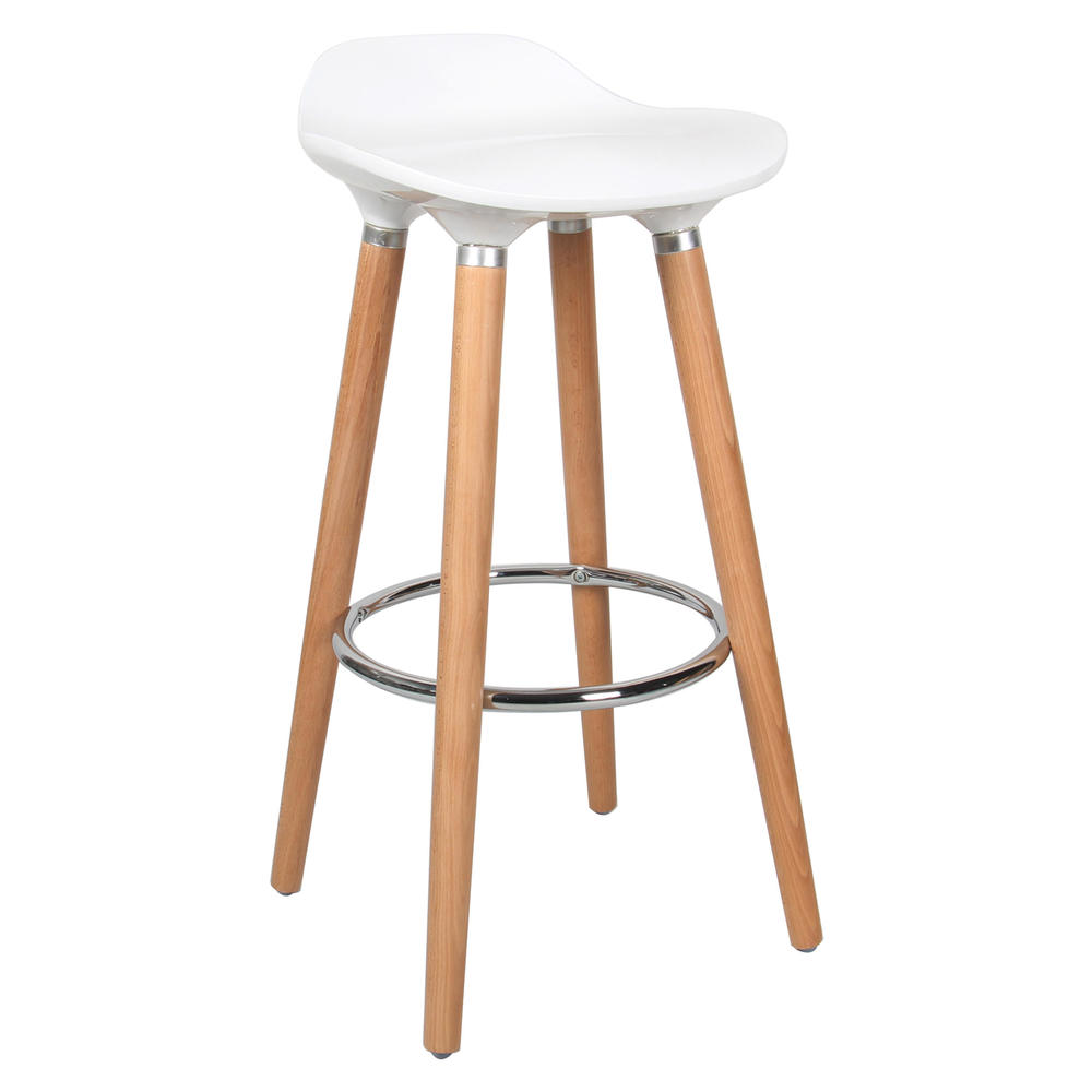 Contemporary Bar Stool With Beech Wood Legs White Moustache