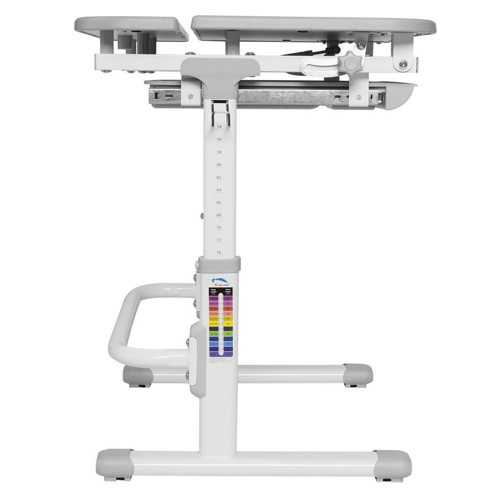 Children's Multi-Functional Ergonomic Height Adjustable Desk & Chair Set  -Grey PrimeCables®