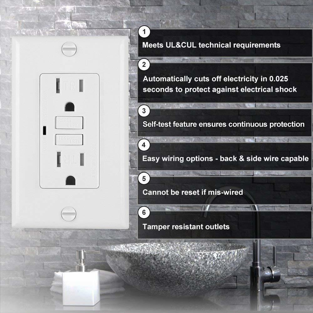 GFCI Decora Receptacle Outlet Self Test Tamper Resistant, 15Amp 125Volt  NEMA 5-15 - PrimeCables®