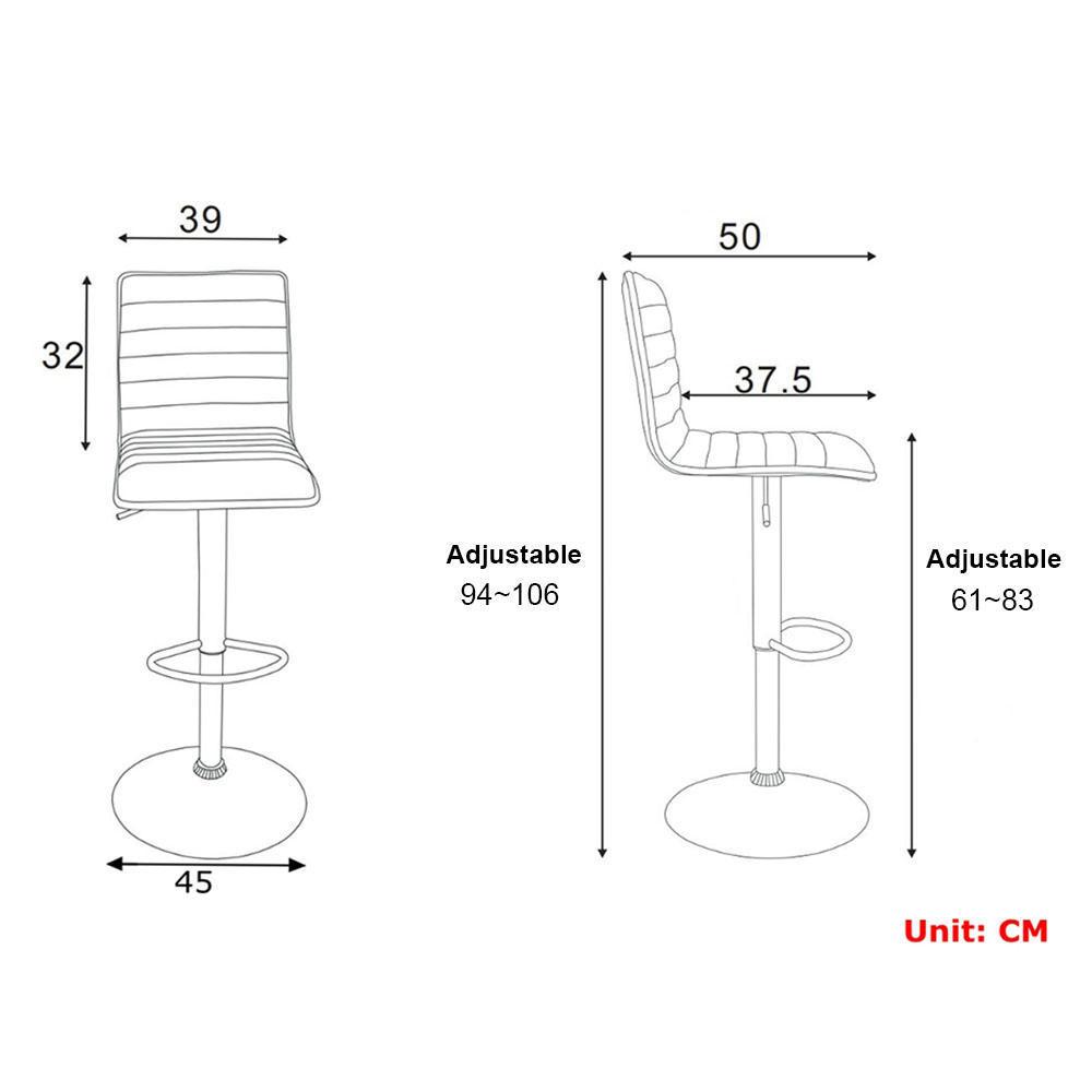 High Back Adjustable Height Swivel Bar Stool - Moustache® - 1/Pack, White