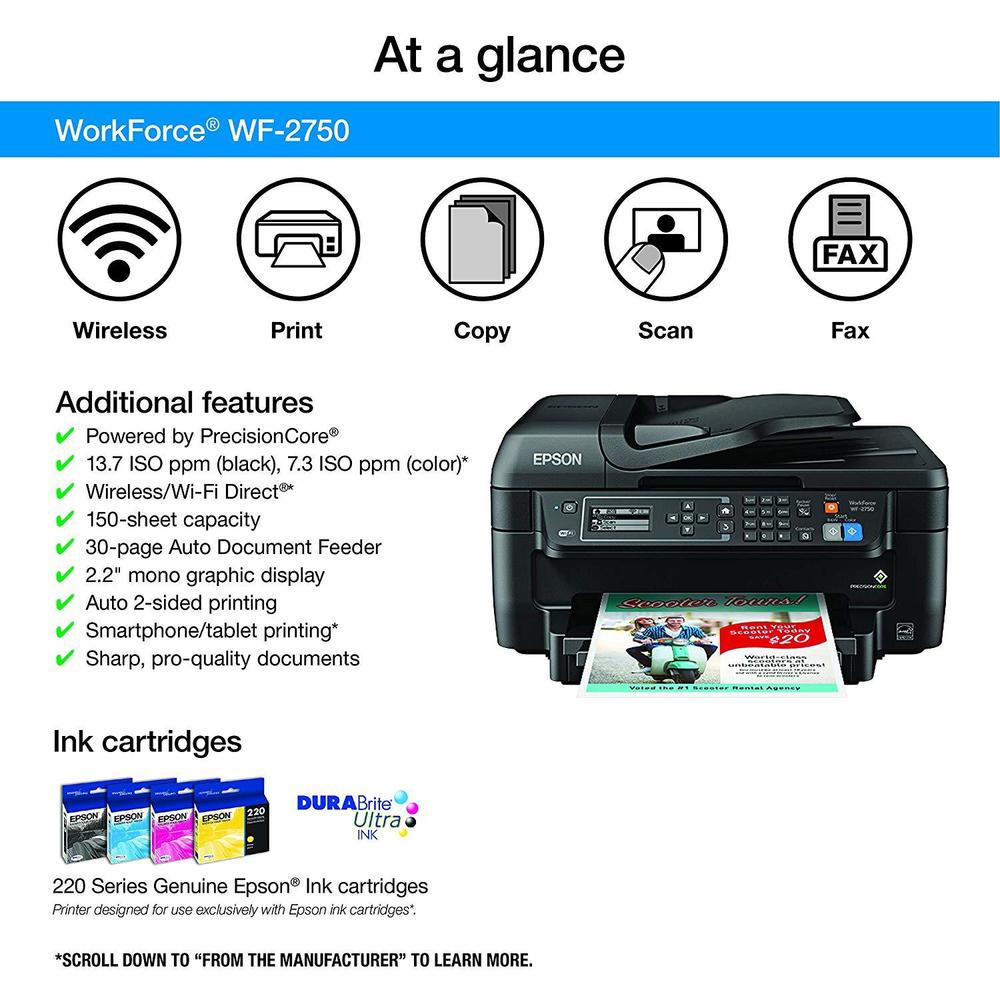 Epson Workforce WF-2750 All-in-One Color Inkjet Printer (C11CF76201),  Replace WF-2630