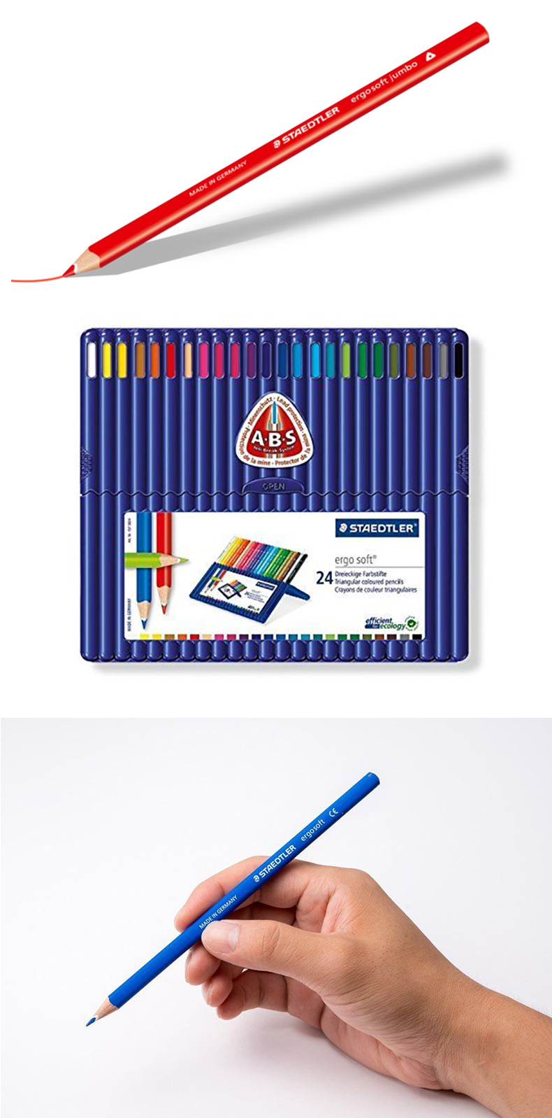 Fin Staedtler® Ergosoft Coloured Pencils, 24 Assorted Colours 764605 CD-35