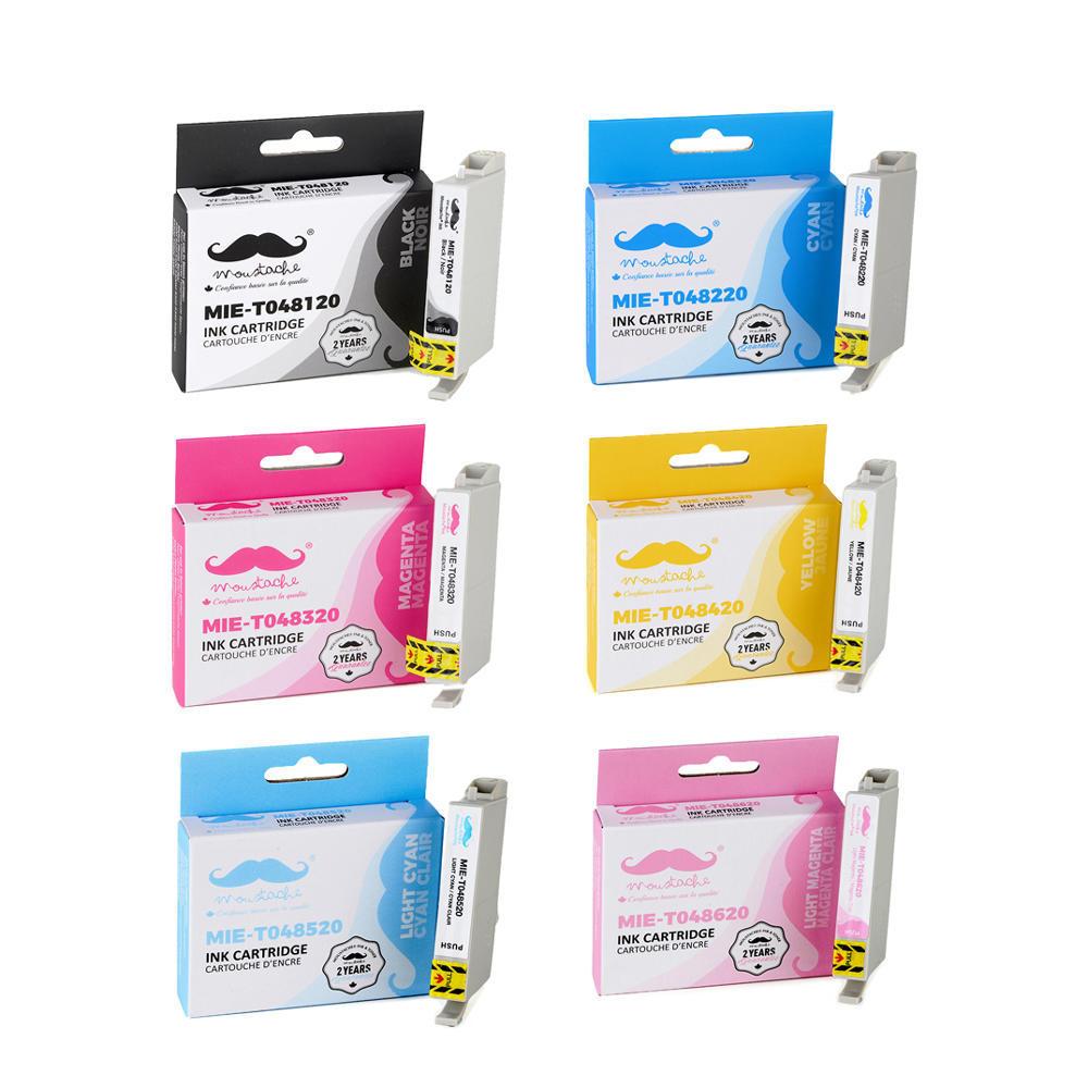 6 Genuine Epson T048 black cyan magenta yellow LC LM 48 ink R300 RX620 RX500