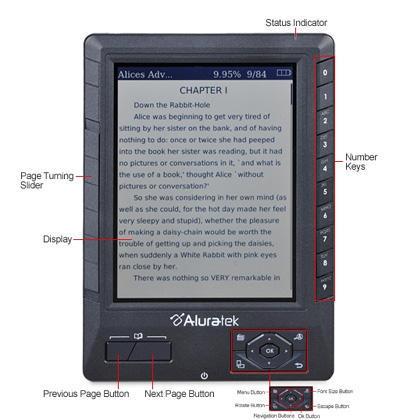 Aluratek Libre eBook Reader Pro - 2GB SD Card, 100 Free Books, Built-In MP3  Player, Black