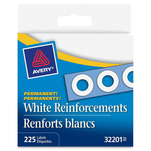 Avery® White Self-Adhesive Reinforcement Labels, 1/4