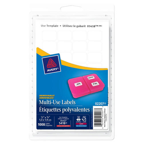 photo regarding Removable Printable Labels identify Avery® Multi-Employ the service of Detachable Laser/Inkjet Labels - Rectangular, 3/4 x 1\u201d, 780/Pack