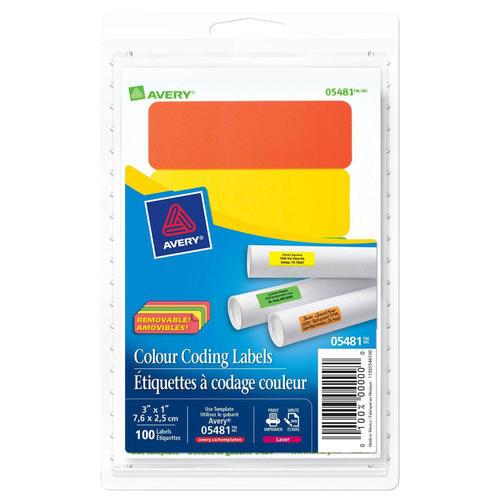 Avery® Laser/Inkjet Removable Rectangular/Round Colour Coding Labels -  Rectangular 1 x 3