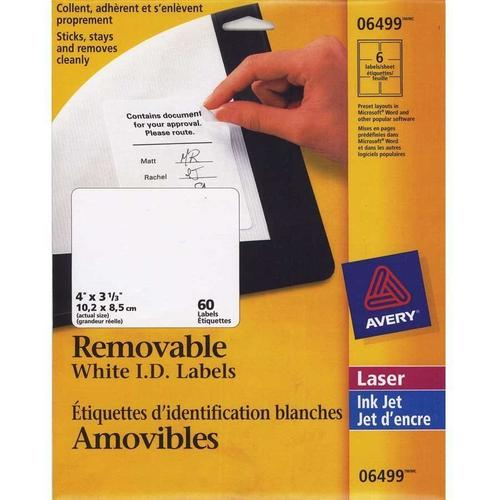graphic about Removable Printable Labels named Avery® Detachable I.D. Laser/Inkjet Labels - 4 x 3\u201d, 60/Pack, White 217950