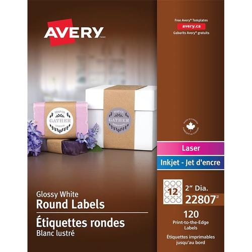 photo regarding Printable Printers called Avery® White Printable Spherical Shiny Labels for Ink Jet and Laser Printers - 2\