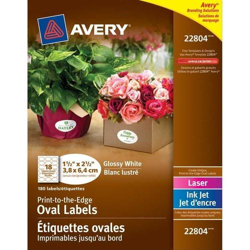 photo about Oval Printable Labels known as Avery® White Printable Oval Shiny Labels - 1-1/2\