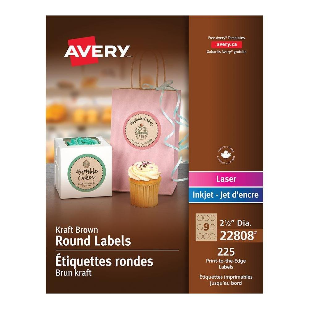 Avery® Print-to-the-Edge Laser/Inkjet Round Labels, Kraft Brown, 2-1/2