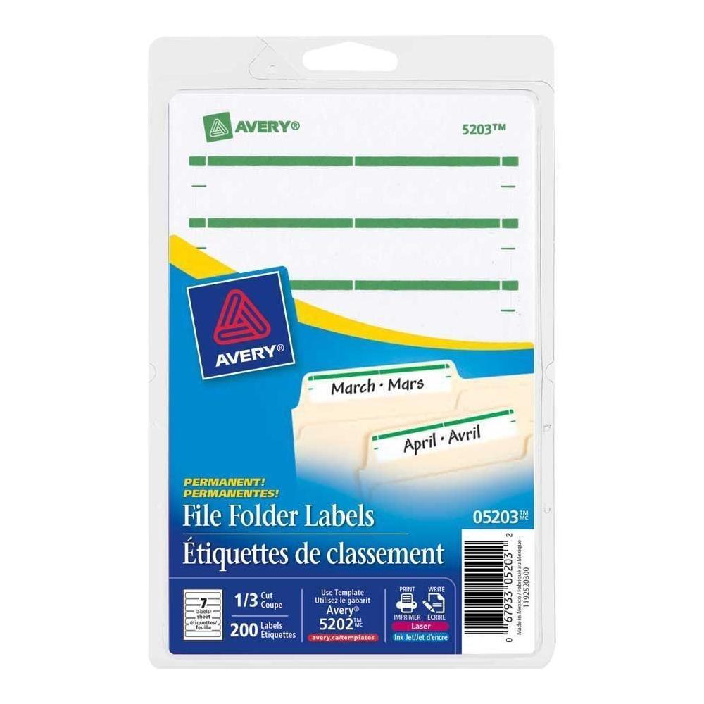 Avery® Laser/Inkjet File Folder Labels - Red, For printing of handwriting,  3-1/2 x 5/8