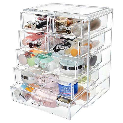 Organisateur Maquillage Acrylique 7 Tiroirs Grand Compartiment Cosmetique Conteneur De Rangement