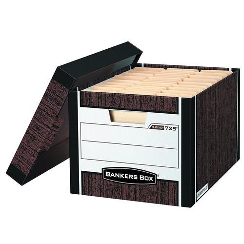 Bankers Box® R-Kive® Letter/Legal Size Heavy-Duty Storage Box, 12/Pack  (00725) - Woodgrain