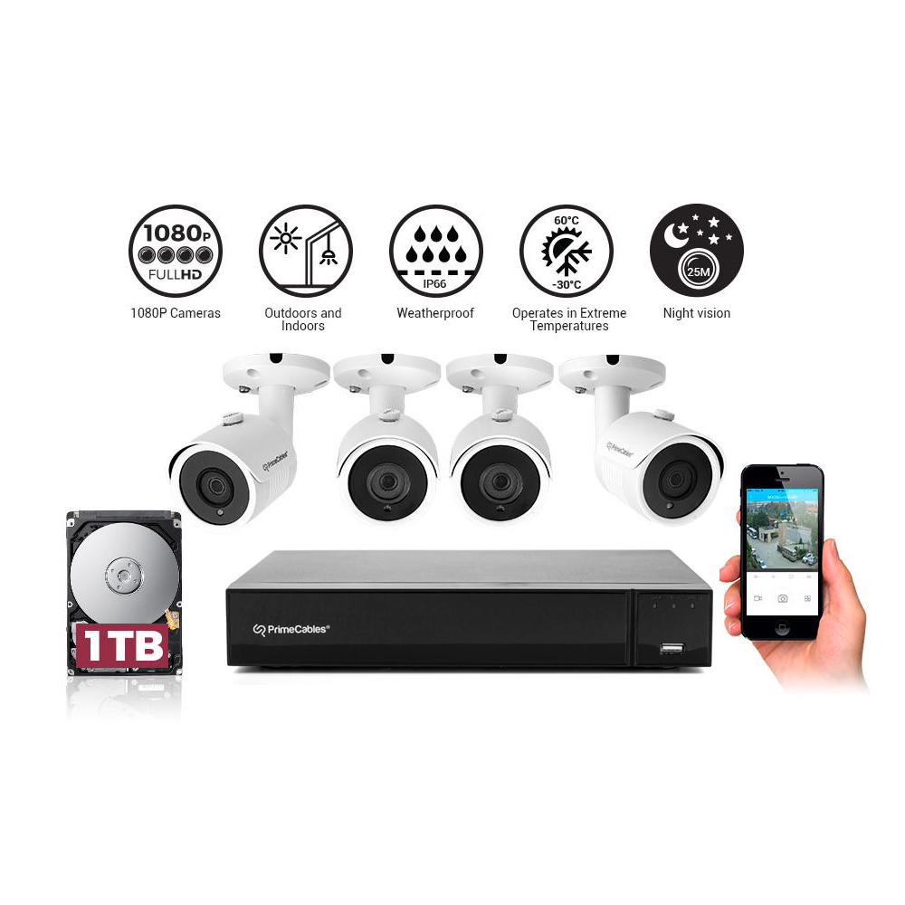 Security Camera System with 4 1080P Night Vision Cameras and 1TB  XVR(Digital Recorder)-PrimeCables®