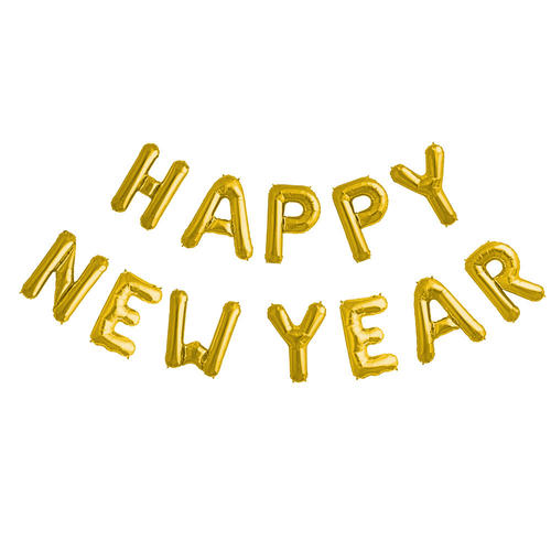 Happy New Year Letter Foil Balloon Air Filled 1pc Livingbasics